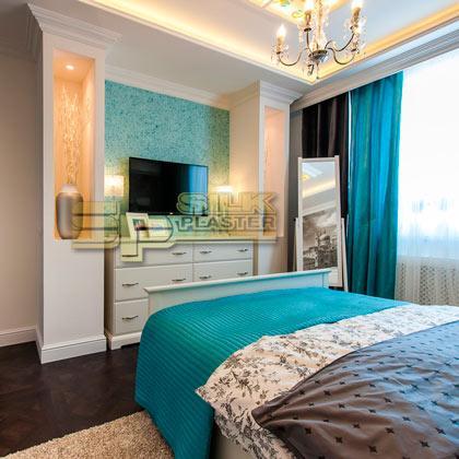 Bedroom with SILK PLASTER liquid wallpaper
