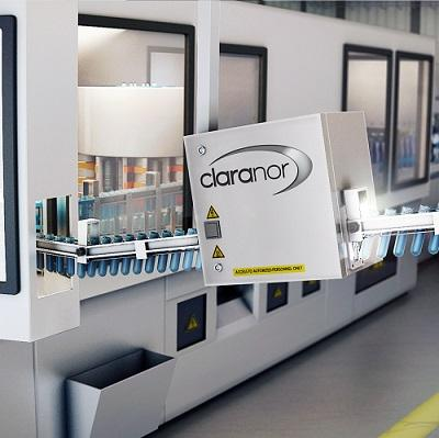 Claranor Pulsed light sterilizer for preform and bottle necks. In-line, dry, non chemical sterilization. 3 to 5 log on bacteria and moulds. Compact and easy to integrate on existing or new lines.