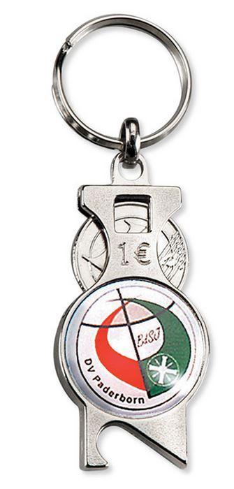 Der Einkaufswagenchip am Schlüsselanhänger. Hochwertige Schlüsselanhänger mit integriertem Einkaufswagenchip bedruckt mit Ihrem Logo.