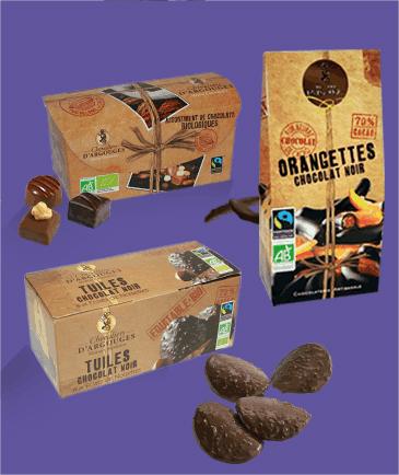 Exemples de produits bio et équitables produits par Les Chevaliers d'Argouges.
