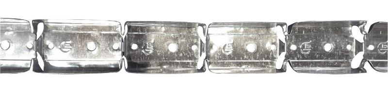 Rail 50 type U profilé métallique perforé destiné à la réalisation de cloison courbe, composé de « vertèbres » permettant la courbure. Conditionnement en carton facilitant et minimisant son stockage.