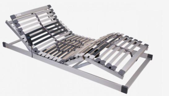 Film coated slatted frame electronically adjustable head and foot regions