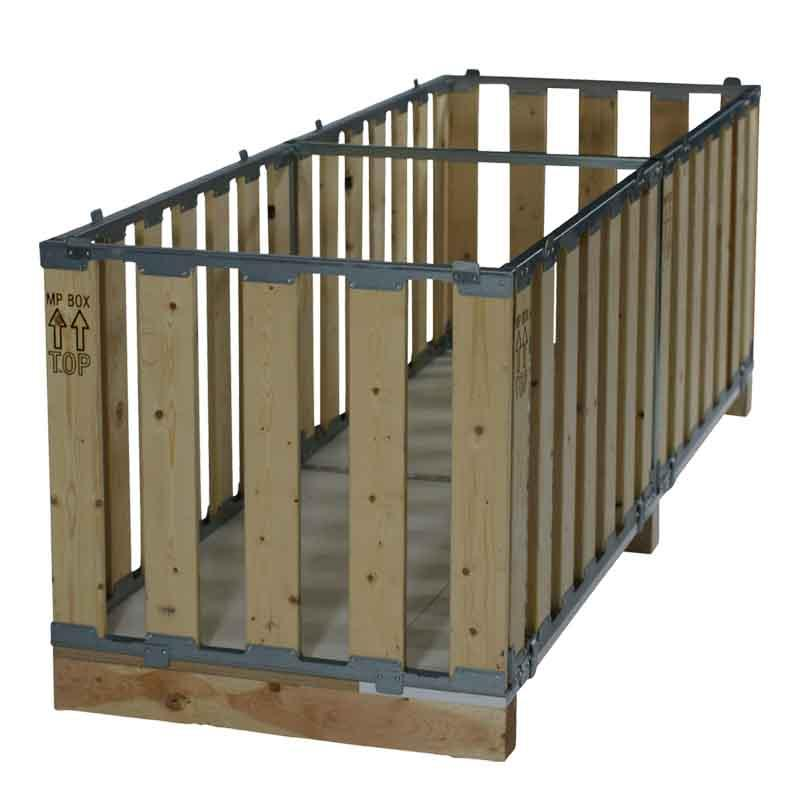 Pallet box for protective transport of longer goods. Stackable up to 5-high with 5 x 1.000kg inside.