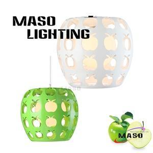 Indoor Green Apple Resin Shape Pendant Lamp For Bar Dining Room Decoration LED