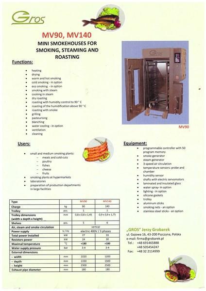 Smoking Chember / Oven MV90 - MV90A and MV140 - MV140A