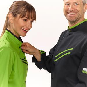 COOK&I se compose d'un large éventail de vestes de cuisine, pantalons, tabliers, polos, vestes anti-froid, chaussures et accessoires
