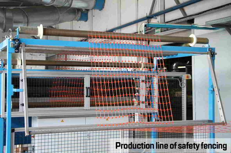 Production line of safety fencing