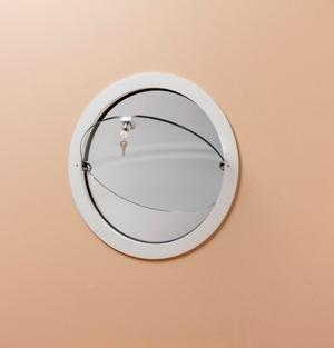 Oblò in fusione d'alluminio basculanteper interni. vetro temperato da 8 mm