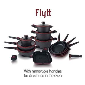 Cookware with removable handles for direct use in the oven. High resistance. Suitable for cookers: gas, electric, ceramic, halogen and induction. Easy storage. Healthy and even cooking.