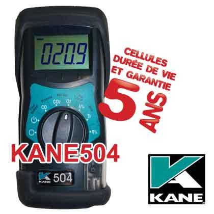 Analyseur de combustion KANE504. Testeur de combustion.Analyse la combustion en temps réel et en continu.Mesure CO, CO2, température des fumées. Calcul O2, rendement, éxcès d'air et température nette.
