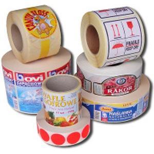 Etiketten selbstklebe zum aufkleben selbstklebende papieretiketten thermotransfer  bedruckte druck Druckerei labels farbige rollen kunststoff folie produkt