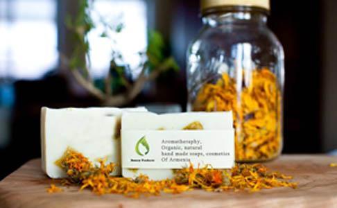 The Calendula soap, with the calendula infused oils