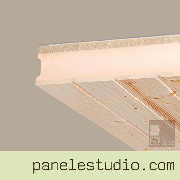 Panel sandwich con núcleo aislante XPS y acabado en friso abeto natural de 10 mm. Panel para cubiertas, tejados, entreplantas, forjados perdidos, tabiques y trasdosados. www.panelestudio.com