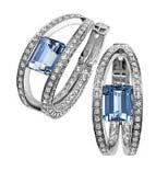 925 sterling silver earrings cubic zirconia 3A in rhodium plated