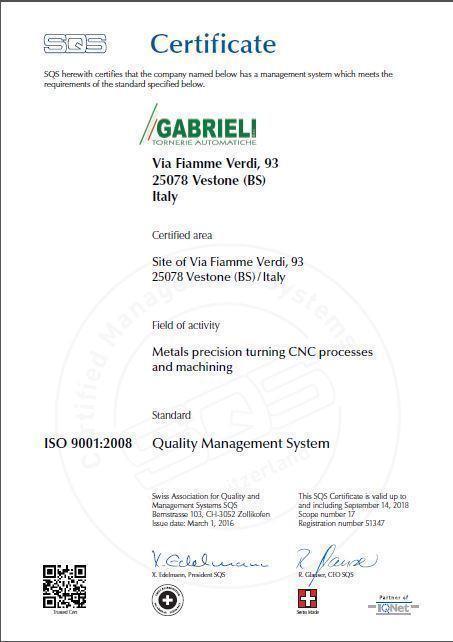 Gabrieli srl, azienda specializzata nelle lavorazioni di torneria.