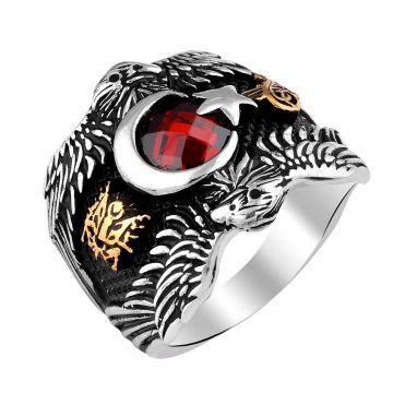 Kartal Ayyıldızlı Zirkon Taşlı Erkek Gümüş Yüzük 925 Ayar Gümüş Yüzük Ağırlığı 8-10 gr. Taş Zirkon Kırmızı