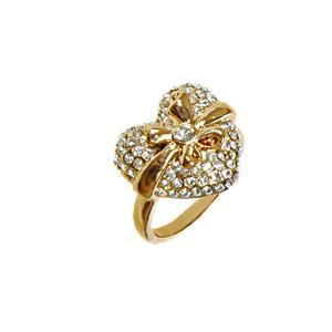 Bague plaqué or rose en forme de cœur, 18 carats, avec des véritables cristaux EOA.
