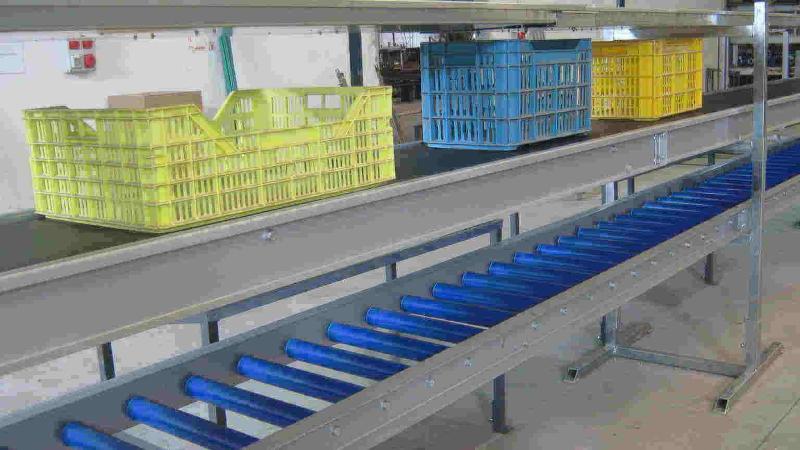 Equipamento concebido para ser incorporado nos Calibradores. Suporte de caixas Vazias Suporte de caixas Cheias Tapete de movimentação de caixas Apoio para as Caixas