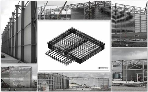Steel structure design office Kozlowski-Projekt complete project: static calculaton made with Robot Autodesk and workshop model made with Tekla Structures.