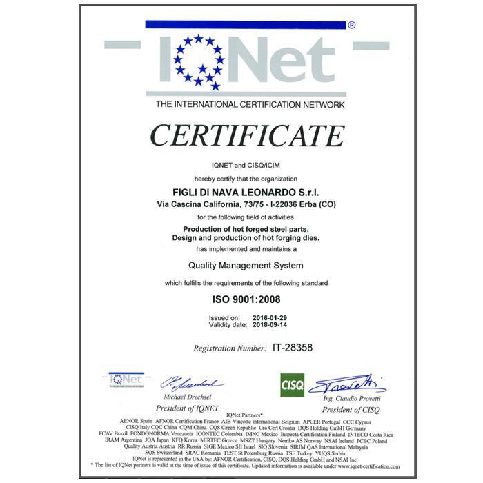 FIGLI DI NAVA LEONARDO certificato