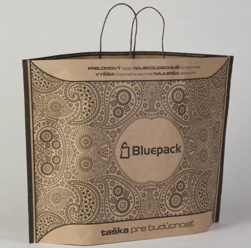 BlueBAG, using less paper and adhesives. Folding flatter and taking up less pallet space than conventional SOS carrier bags. From small bags up to 800mm wide carriers, gift bags and more.