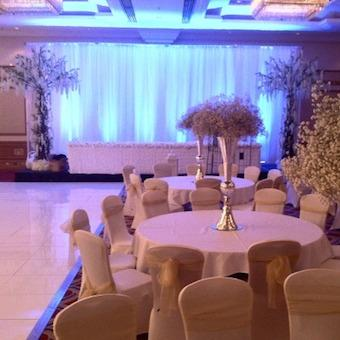 We hire draping for all types of events, from white pleated drapes to star cloth walls.