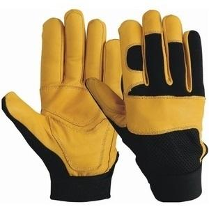 Front Palm Yellow Goatskin Leather With Reinforced Double Plams , Back Nylon Mesh, With elastic Strap, Print Your Customized Logo and Label As Per Your Demand Each Pair Packed Plastic Hanger Hook Bag