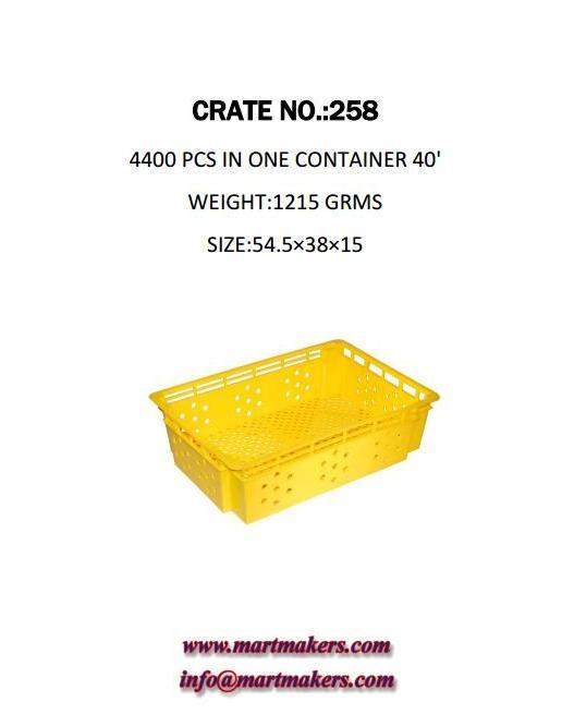 Plastic Crate NO: 258 ; 4400 Pcs in one container 40'; Weight: 1215 Grams; Size: 54.5X38X15.
