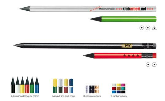 Black Pencil are lacquered, 175 mm, round, also with rubber, sharpened, lead HB, complying with the purity stipulations of EN 71/III, LGA/TÜV tested.   min.2.016 pcs. in 26 standard colours