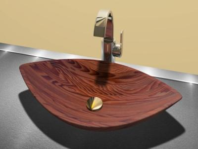 Wood basin Omega 2 is placed on the plate (700 x 400 x 120mm)