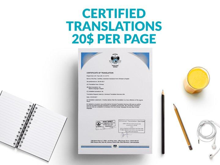 Certified Translations 20$ per page
