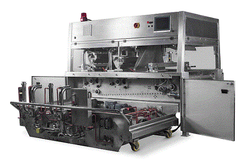 Enrobing machine, for caramel or chocolate coating.