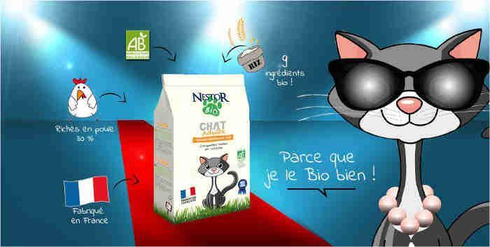 NESTOR BIO : 1ère croquette française certifiée bio. Croquettes bio  pour chats, croquettes bio  pour chatons. Contact au 01 46 02 72 23 du lundi au vendredi de 9  à 18 h  ou par mail  via notre site.