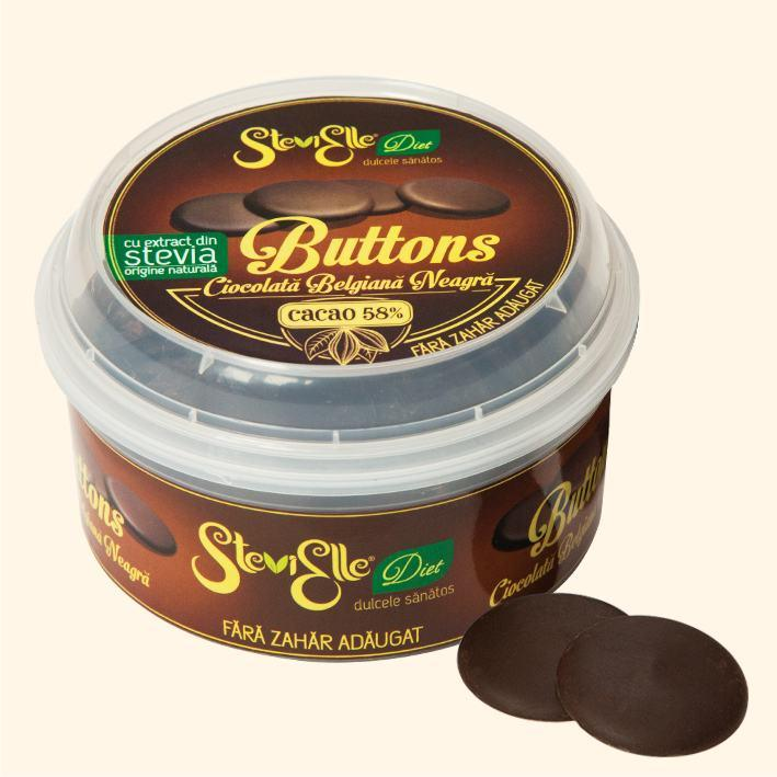 Belgian sugar free chocolate in buttons form, sweetened with STEVIA, suitable for chocolate bonbons, creams, cake coating, cookies, icecream etc. DARK. Cocoa 58%. Guilt free and delicious!
