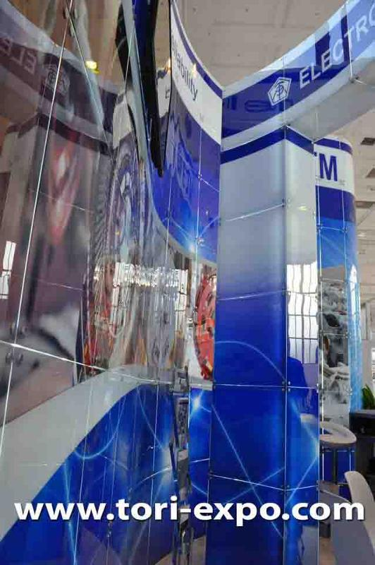 Exhibition stand at InnoTrans Berlin which is made of glass.