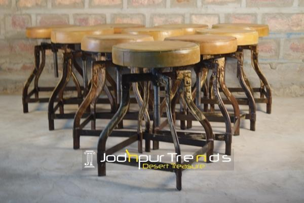 A Range of rustic Industrial Stools.