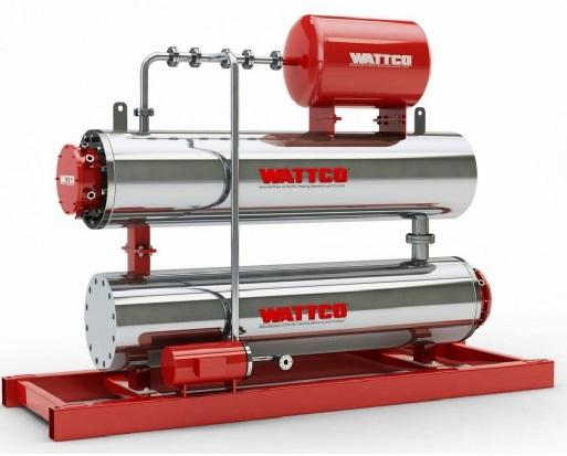 "Circulation Heaters, also known as ""in line heaters,"" have uses in many applications. They can use steel, stainless steel, or titanium depending on the application. Lube oil and waste oil applications"