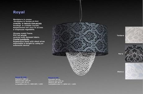 Chrome metal frame. PVC foil shade covered with damask fabric. Crystal pendants. Suspension lamp with steel wires adjustable in lenght by using an automatic device.                   -Paralume tessuto