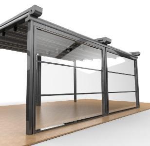 Система ПАНОРАМА является революционным продуктом! В системе первое стекло зафиксировано неподвижно, а другие двигаются верх-вниз. В открытом состоянии эта система служит как как стеклянная балюстрада