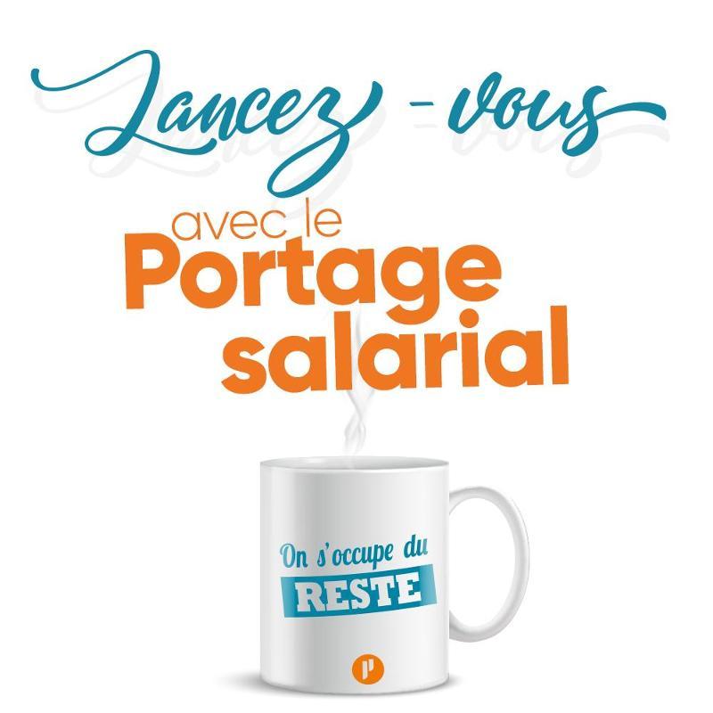 Slogan Lancez-vous en Portage salarial avec tasse