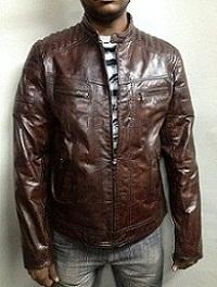 Sheep Vegetable Wood   Leather Men's Jacket