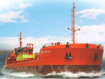 Oil Tanker / Oil Recovery Vessel, 73,50 mts LOA. Vessel designed for the collection of waste in the sea. Tankering.