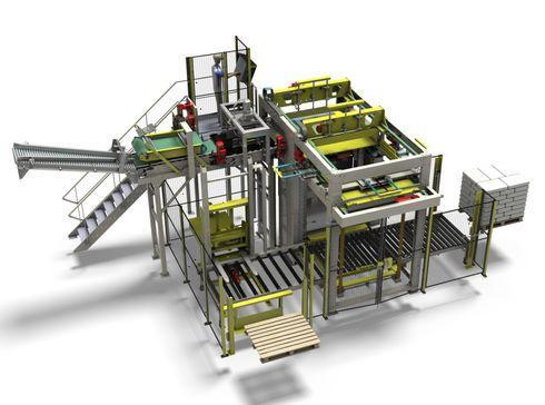 Cette gamme de palettiseurs automatiques peut traiter un spectre très large de produits dans tout type de sacheries.