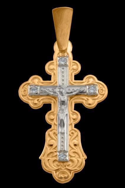 golden cross with cubic zirconia
