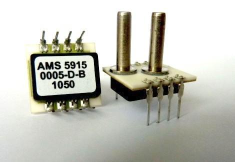Die digitalen Sensoren AMS 5915 sind erhältlich in Druckbereichen zwischen 5mbar und 10bar. Die Sensoren werden mit 3,3Volt betrieben, sind kalibriert und temperaturkompensiert von -25 bis 80°C.