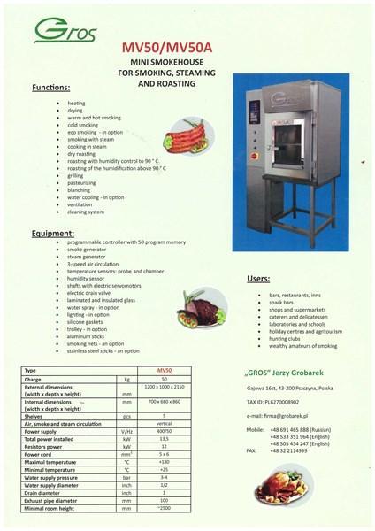 Smoking Chember / Oven MV50 - MV50A