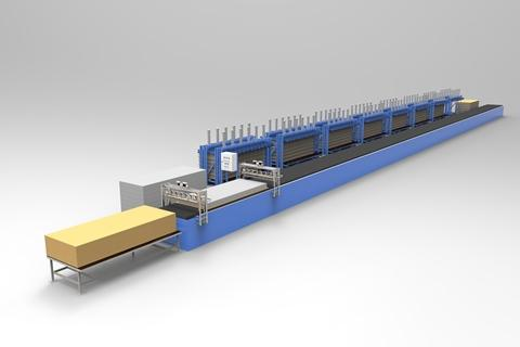 SPL-1L-6 includes: - Movable gluing station (1 or 2 - possible some operations logistics) - Conveyor belt - 6(8) pallet-style presses - Auto-loading station for cover and insula