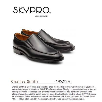 Airline Shoes - Charles Smith is SKYPRO's slip on airline shoe model. This pilot/steward footwear is your best partner in emergency situations.