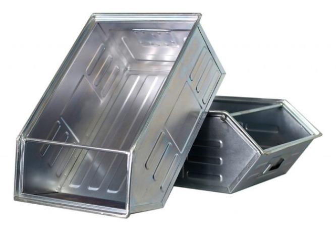 Semi-open front sheet steel storage boxes and containers
