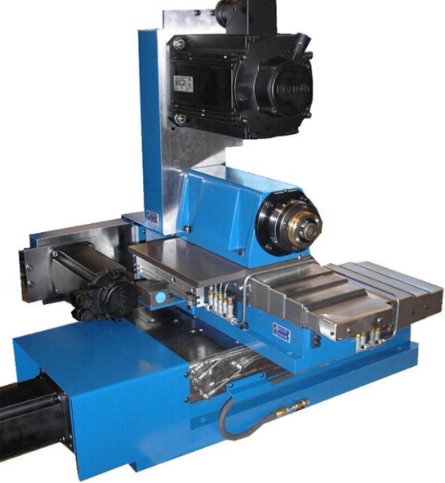 Horizontale Bohr- und Fräseinheit mit Werkzeugaufnahme HSK-C Gr.63 und Leistung 5,5 KW. Einfache Positionierung über NC Antriebsmotoren und CNC Steuerung.